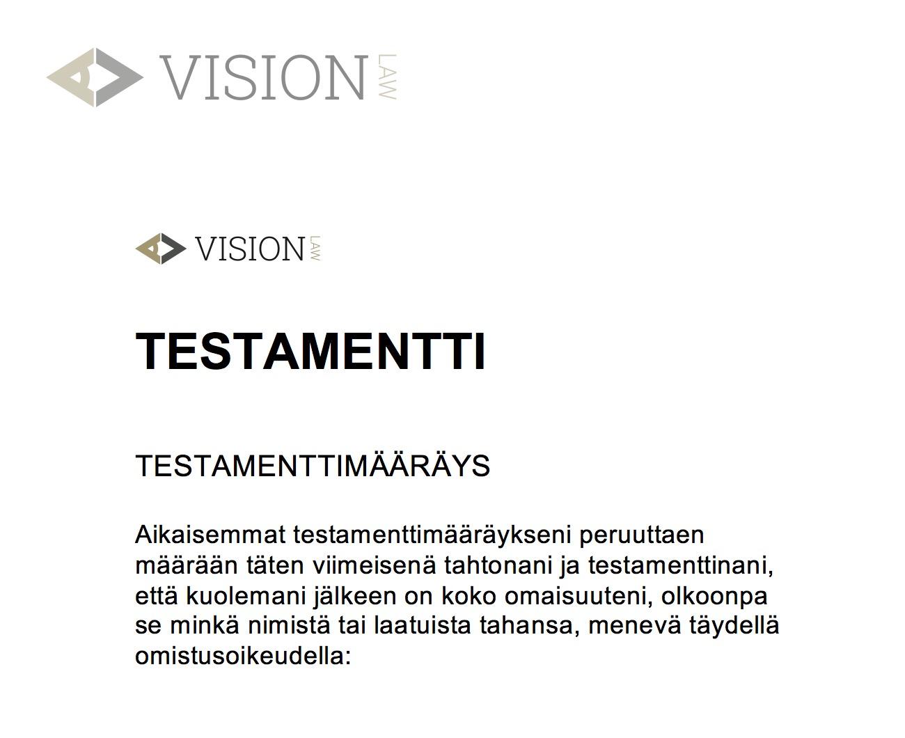 Keskinäinen Testamentti Malli
